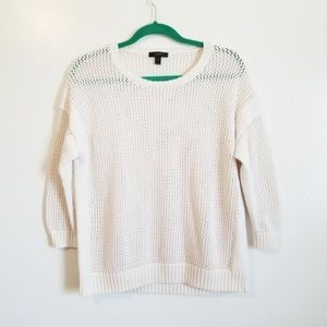 J Crew Open Weave Cream 3/4 Sleeve Sweater